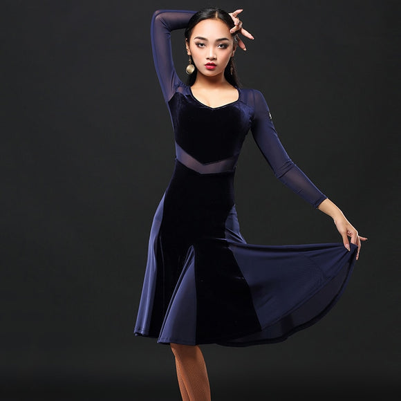 Velvet Latin Dress with Long Mesh Sleeves, Cutouts and Skirt Panels.  Available in Black and Navy Blue and Sizes S-XXL pRa418