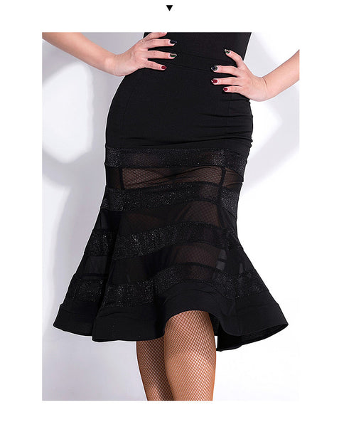 Black Latin or Rhythm Practice Skirt with Alternating Lycra and Mesh Stripes and Sexy Slit in Back. Wrapped Horsehair Hem Sizes S-6X Pra211_in