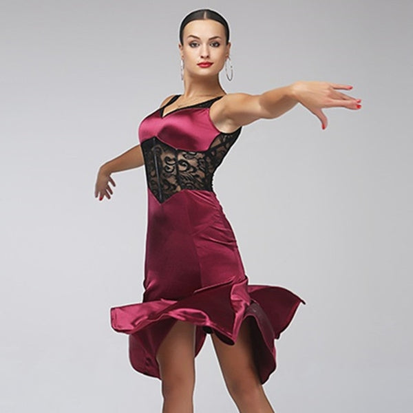 Short Latin Practice Dress with Corset Style See-Through Lace Waistline. Wine Stretch Satin Skirt and Neckline.  Sizes S-XL Pra236