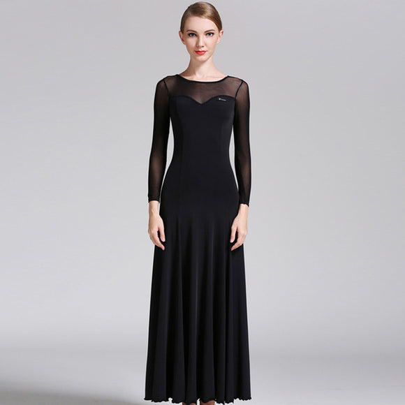 Long Sleek Ballroom Practice Dress with Sweetheart Mesh Neckline and Long Sleeves Available in 6 Colors and Sizes S-XXL