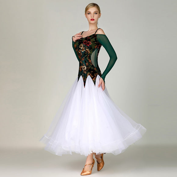 Long Green Ballroom Practice Dress with Full White Standard Skirt and Long Green Mesh Sleeves Available in Sizes S-XXL Pra235