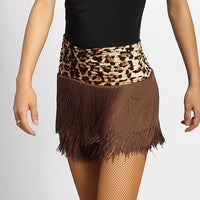 Short Fringe Latin Practice Skirt with Rouched Waistband and Built-In Bodysuit. Available in 3 Colors and Sizes S-XL Pra225