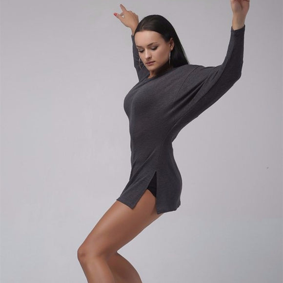 Slouchy Dance Top with Long Sleeves Available in Grey, Beige and Black and Sizes XS-XL Pra238