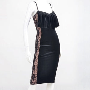 Sleeveless Black Velvet Latin Practice Dress with Slimming Lace Accent over Nude Lycra and Slit in Back of Skirt. Available in Sizes S-4XL Pra245