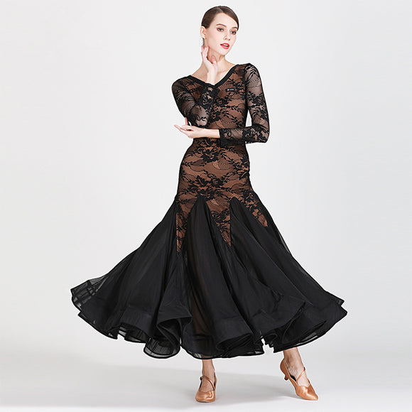 Long Black Lace Ballroom Practice Dress with Nude Illusion Background and Long Sleeves. Also Available in Red and Sizes S-XXL Pra269