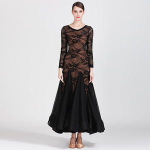 Long Lace Ballroom Practice Dress with Nude Illusion Background and Long Sleeves. Also Available in Red and Sizes S-XXL Pra269