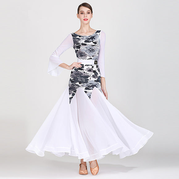 White Ballroom Dress with Grey Floral Bodice and Long Flared Sleeves. Full Single Layer Skirt with Wrapped Horsehair Hem Sizes S-XXL Pra268