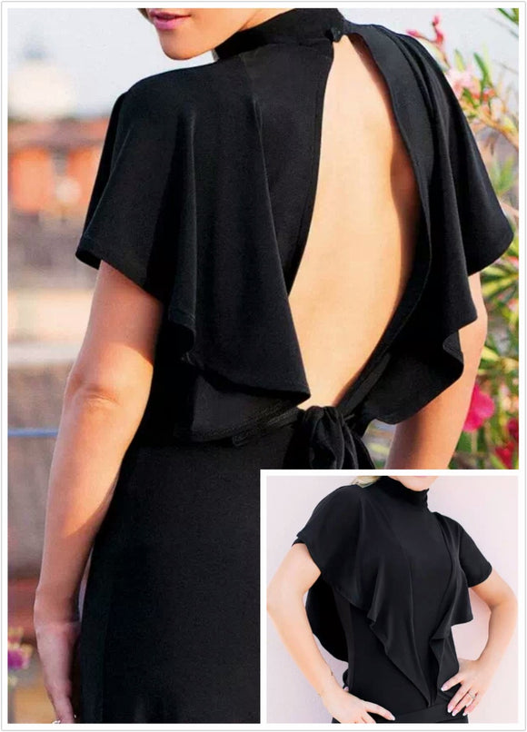 Black Ballroom or Latin Practice Top with Double Sash Sleeves and Open Back with Tie Available in Sizes S-3XL Pra271