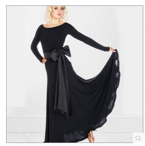 Long Ballroom Or Standard Practice Dress with Contrasting Belt and Bow. Features Long Sleeves and Soft Hem.  Available in Multiple Colors and Sizes S-2XL Pra292