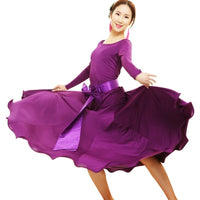 Ballroom Practice Dress with Contrasting Belt and Bow, Long Sleeves, and Soft Hem Sizes S-2XL Pra292