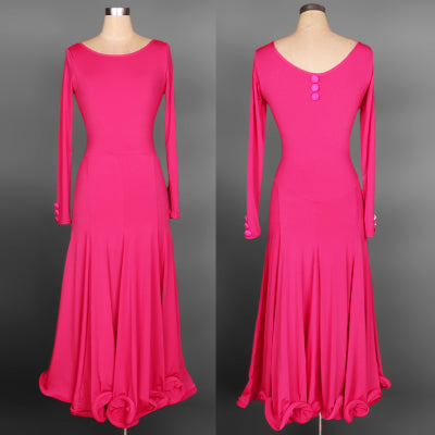 Long Ballroom Dress With Accent Bow Belt and Long Sleeves.  Matching Button Details on Back and Wrist. Pra292_in
