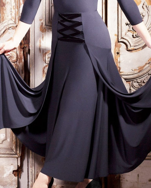 Long Black  Ballroom Practice Skirt With Velvet Lace Detail on Front. Sizes S-3XL Pra267