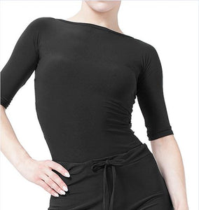 Half Length Sleeve Bodysuit Practice Top with Back Cut Out. Great for Ballroom or Latin Dances. 2 Colors and Sizes S-3XL Pra249