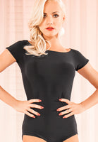 Adorable Black Ballroom or Latin Practice Top Bodysuit with Button Detail on Back and Short Sleeves Size Small Pra255_In