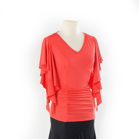 V Neck Practice Top with Rouching and Short Flutter Sleeves.  Available in 3 Colors and Sizes S-XL Pra248