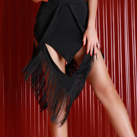 Short Black Latin Practice Skirt with Fringe and Geometrical Cutouts. Available in Sizes XS-L Pra020a