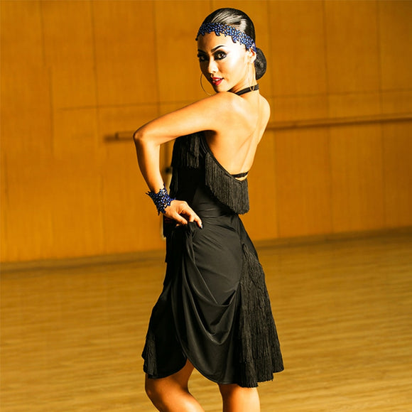 Black Fringe Latin Practice/ Competition Dress with Lively Skirt and Halter Sweetheart Neckline Available in S-XL Pra253