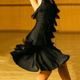 Black Fringe Latin Practice/Competition Dress with Lively Skirt and Halter Sweetheart Neckline. Available in S-XL Pra253