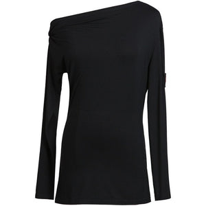 Long Sleeve Practice Top with Single off the Shoulder Design.  Available in 2 Colors and Sizes S-XL Pra371