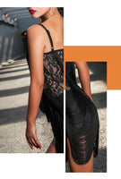Draped Fringe Latin Practice Dress in 2 Color Options. Black or Orange. Available in Sizes S-XL Pra284