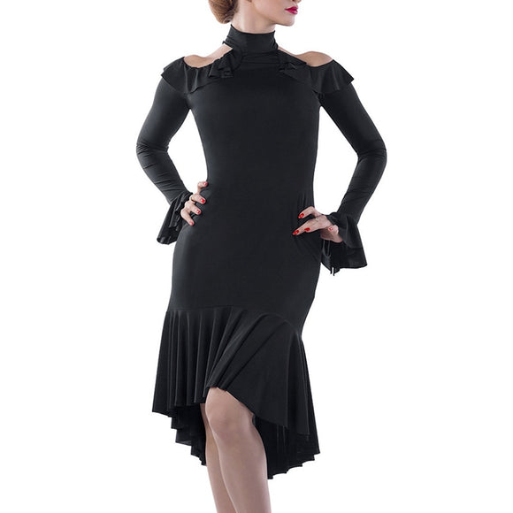 Black or Red Latin or Rhythm Dress with Color Shoulder, Long Sleeves and Flared Wrist Detail. Available in Sizes M-XL Pra273_in