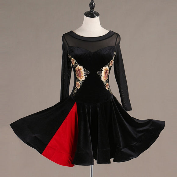 Black Velvet Latin Dress with Embroidered Applique, Long Mesh Sleeves and Red Accent Panel in Skirt.  Available in Sizes S-XXL Pra277
