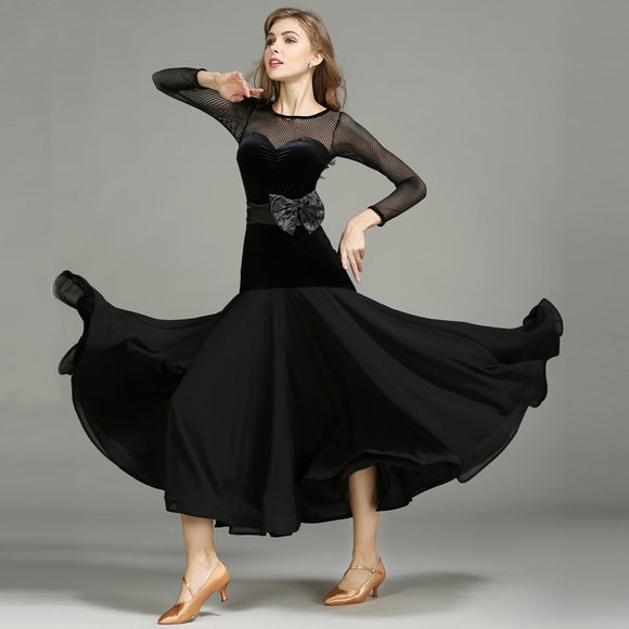 Long Ballroom Practice Dress with Chiffon Skirt, Bow Belt and Long Net Sleeves. Available in Black and Red and Sizes S-XXL Pra274