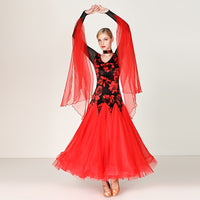 Long Standard Ballroom Dress with Floral Print and Attached Floats.  Available in 4 Colors and sizes S-XXL Pra280