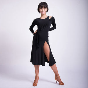Sexy Latin Dress with Shoulder Cutout and Slit in Skirt. Features Sash for Movement and Long Sleeves. Available in 3 Colors and Sizes S-XXL Pra275