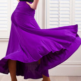 Long Ballroom Practice Skirt with Thick Gathered Waisband.  Available in Purple and Black and Sizes M-XXXL Pra281