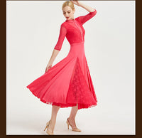 Long Ballroom Practice Dress with High Collar, Pearl Details and Lace Gussets in Skirt. Avilable in 3 Colors and sizes S-XXL Pra285