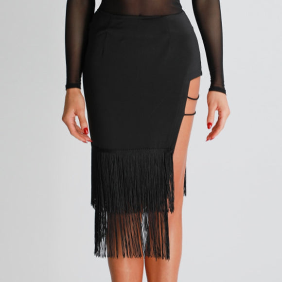 Sexy Latin or Rhythm Practice Skirt with Open Section and Fringe Hem. Available in Sizes XS-L Pra351