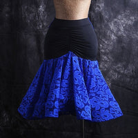 Black Latin Skirt with Colorful Lace Skirt and Tie. Features Wrapped Horsehair Hem for Movement.  Available in 3 Colors and Sizes S-XXL Pra313