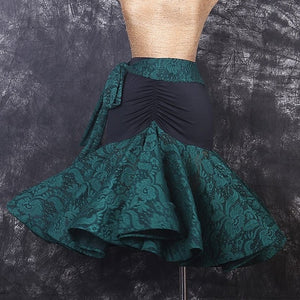 Black Latin Skirt with Coloful Lace Skirt and Tie. Features Wrapped Horsehair Hem for Movement.  Available in 3 Colors and Sizes S-XXL Pra313