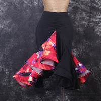 Animal or Floral Print Latin Skirt with Full Ruffle and Wrapped Horsehair Hem.  Available in 3 Colors and Sizes S-XXL Pra311