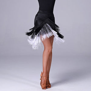 Black Latin Practice Skirt with White and Black Fringe in Angular Hem Shape. Also Available in All White Sz S-XXL Pra310