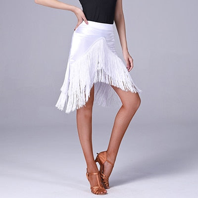 White Latin Practice Skirt with Fringe in Angular Hem Shape.  Sz S-XXL Pra310_in