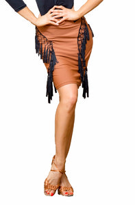Short Latin Practice Pencil Skirt with Tassel Fringe and Slit on Back. Available in Orange and Black and Sizes S-XXL Pra317