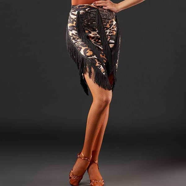 Brown and Black Leopard Print Latin Practice Skirt with Black Fringe Along Seam and Hem with Built-In Bodysuit. Available in Sizes S-XXL Pra340