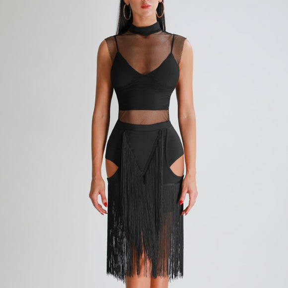 Black Latin Practice Skirt with Hip and Back Cutouts and Symmetrical Fringe Geometric Patterns. Available in Sizes XS-L Pra318