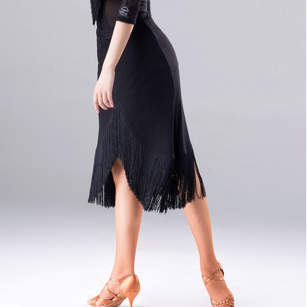 Long Fringe Latin Practice Skirt with Lace Applique Detail. Available in M-XL Pra355