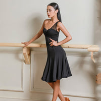 Black Latin Practice Dress with Fishnet Single Shoulder Strap and Waist Detail. Feature Wrapped Horsehair Hem Pra598