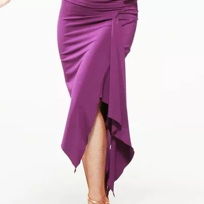 Asymmetrical Latin Practice Skirt with Sleek Silhouette and Sash for Movement Available in 4 Colors and Sizes S-4XL Pra330