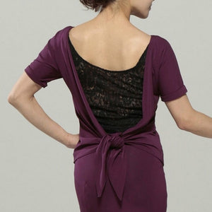 Short Sleeve Purple or Black Latin or Ballroom Practice Top with Lace Insert and Tie Back Detail. Available in Sizes M-XL Pra331