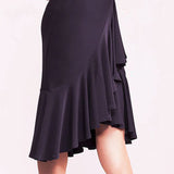 Black Latin Practice Skirt with Ruffle Sash and Asymmetrical Hem.  Available in Sizes S-XXL Pra337