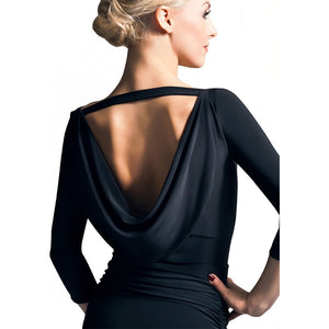 3/4 Black Latin or Ballrom Practice Top with Open Cowl Back and Sleek Front Pra336