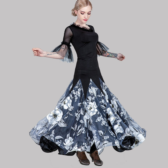 Full Floral Ballroom Skirt in 2 Colors and Black Top with Frill Sleeves and Neckline Detail. Available in S-3XL Pra335