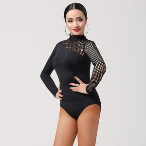 Black Fishnet Bodysuit Latin or Ballroom Practice Top with Long Sleeves and Half Turtle Neck Pra334