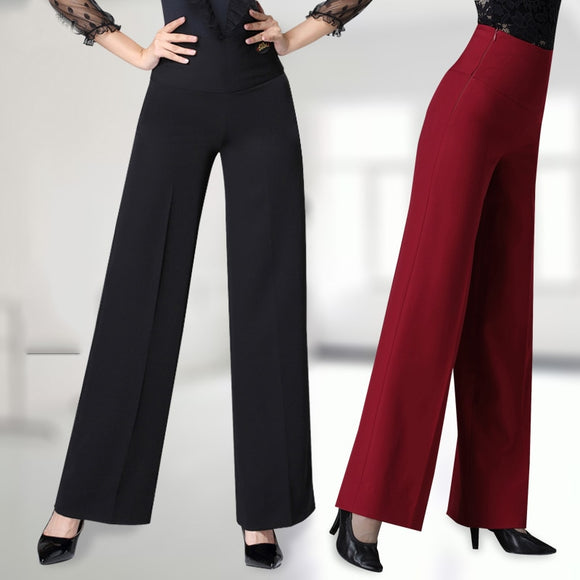 Fashionable Latin or Ballroom Teaching Dance Pants Wight High Waist and Zipper Closure.  Open Cut for Movement. Pra332