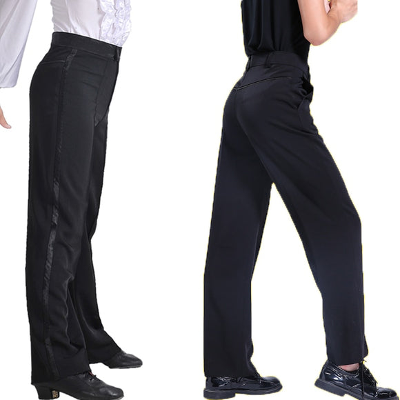 Black Latin or Ballroom Performance Trouser Pants for Boys.  Available with Stripe or Pockets B001
